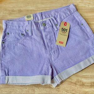 NWT Levi's Pastel Purple 501 Mid-Rise Shorts